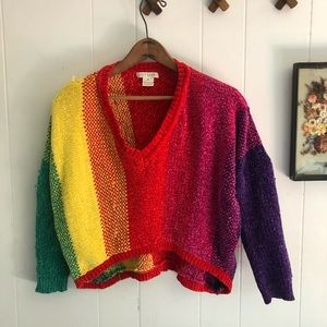Chenille Rainbow Cropped Knit Sweater